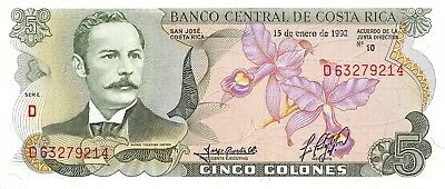 Costa Rica 5 Colones, 1968-1972 Issue 1992 P.236 Rafael Castro Uncirculated Unc