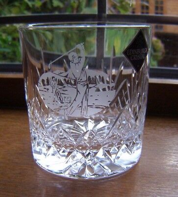 Beautiful Edinburgh Cut Glass Crystal Whisky Glass Golfer Etched Label Atached