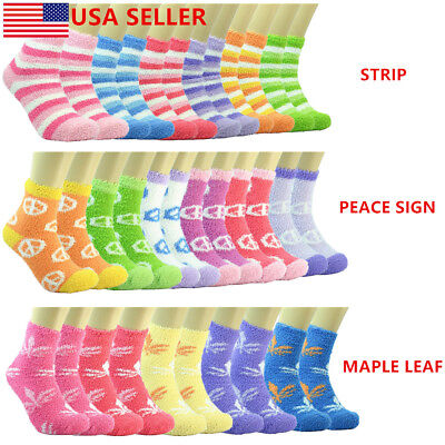 For Women/'s Cozy Fuzzy Crew Dots Soft Socks Winter Home Slipper 3-10 Pairs