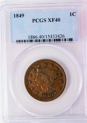 1849 Braided Hair Large Cent - PCGS XF40