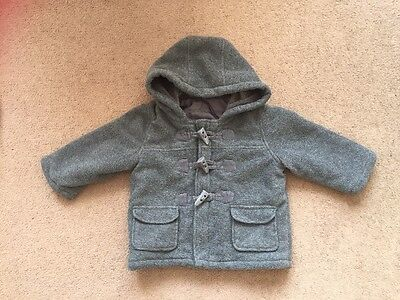 Marks And Spencer Baby Boys Grey Duffle Coat Age 9-12 Months