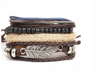 Mens Boys Brown Multi layer Leather Bracelet Surfer Style With Feather Pendant