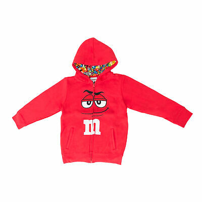 M&M's Zip up Youth Big Face Fleece Hoodie Sweatshirt Red