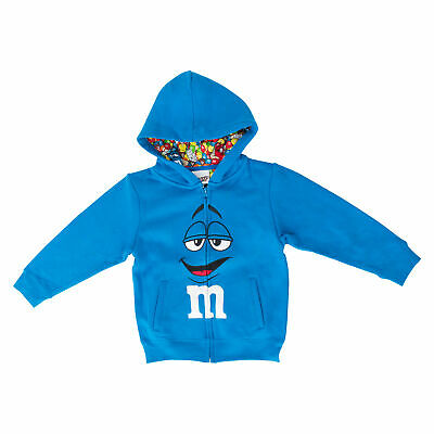 M&M's Zip up Youth Big Face Fleece Hoodie Sweatshirt Blue