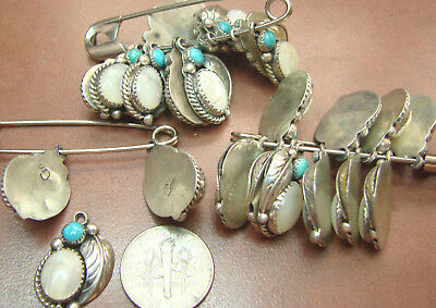 1 Native American Vintage New Old Stock Sterling Turquoise & M.o.p Pendent Hv19