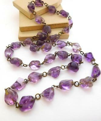 Vintage Antique Art Deco Purple Amethyst Nugget Bead Chain Necklace F22