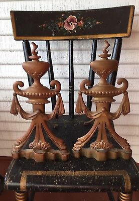 Pair Antique/Vintage Ornate  Andirons Cast Brass Firedogs