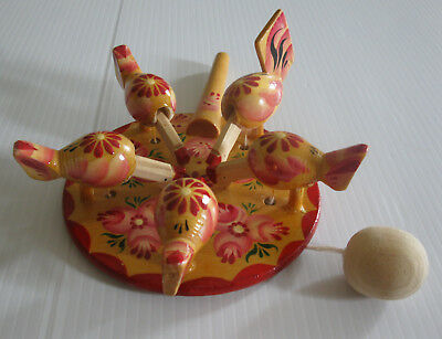 Russian Bogorodsk Pink Wooden Pecking Chickens Toy