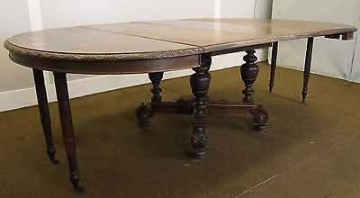 Rare Carved 19Th Century French Solid Oak 8Ft Extending Dining Room Table - Barn