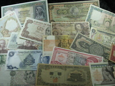20 old world foreign currency note lot  ASSORTED NATIONS FREE SHIPPING