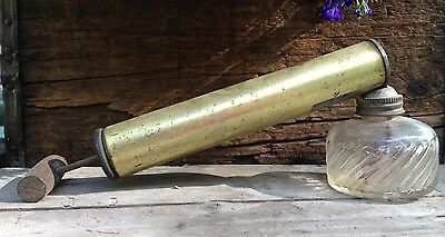 Vintage Hand Pump Bug Sprayer Glass Jar Wood Handle Garden Antique Collectibles