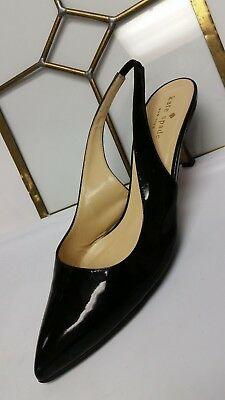 25187f023f KATE SPADE NY SHOES BLACK PATENT LEATHER HEELS SLINGBACK (ITALY) 9.5m EUC