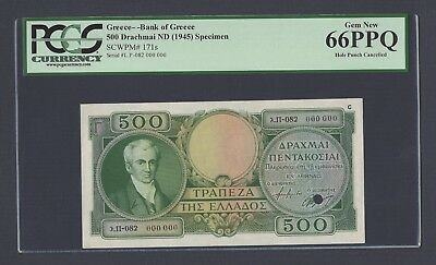 Greece 500 Drachmai ND(1945) P171s Specimen Uncirculated