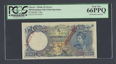Greece 100 Drachmai ND(1944) P170s Specimen Uncirculated