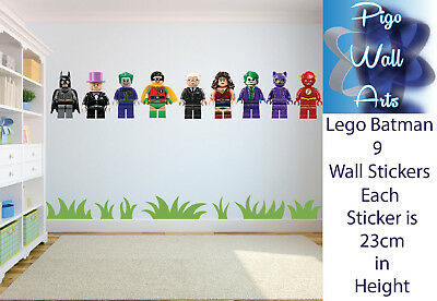 Lego Wall Sticker Batman Theme Kids Bedroom 9 Separate Stickers Decals.