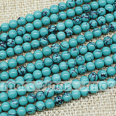 "Green Synthetic Turquoise Round Loose Gemstone Beads 15.5""Strand 4 6 8 10 12mm"