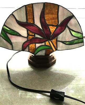 Tiffany Style Stained Glass Fan Lamp Night light Hand Crafted USA Solid Oak Base