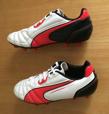 PUMA Universal FG Junior Football Boots - White/Black/Red - Moulded studs UK 3