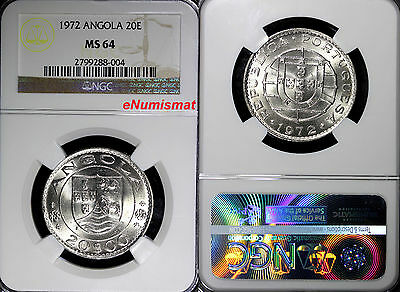Angola 1972 20 Escudos NGC MS64 30mm Low Mintage-428,000 KM# 80