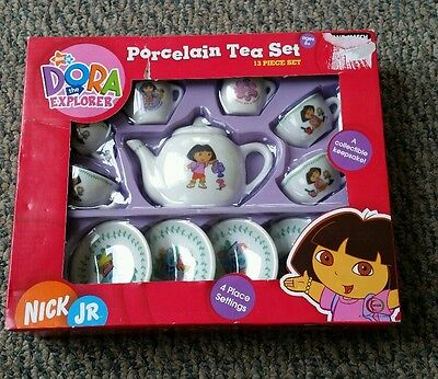 Nick Jr. Dora the Explorer 13 Piece Gardening Porcelain Collectible Tea Set NEW