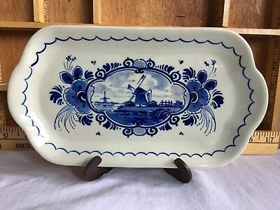 Vintage Delfts Porcelain Blue and White Rectangular Plate Dutch Windmill