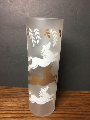 Vintage 1950's LIBBEY Cavalcade Horses Glass Tall 15 Oz Frosted Gold & White