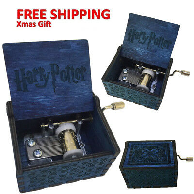 Harry Potter Blue Engraved Wooden Music Box Collectable Xmas Gift New Design