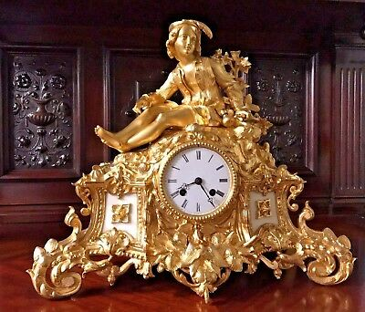 Gorgeous French Empire Gilt Bronze Figural Antique Mantel Clock Japy Freres 1823