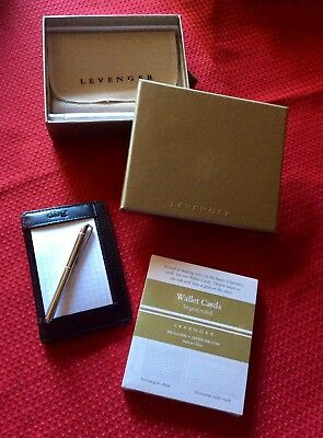 """By Levenger - Leather - SLIM-WALLET-WRITER-WITH-PEN-BLACK-MONO - """"dbg"""""""