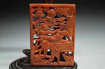 Delicate Chinese Old Jade Carved  Lucky Pendant people  a4