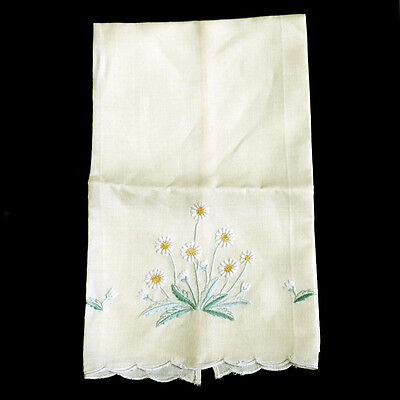 Vintage long embroidered linen lemon daisy doily napkin mat 52cm long