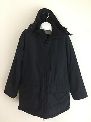 Lands' End Squall Jacket Black w/Fleece Lining & Removable Hood Size L (42-44)