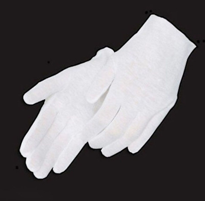 1Pairs White Coin Jewelry Silver Inspection Cotton Lisle Gloves - Size X-Large