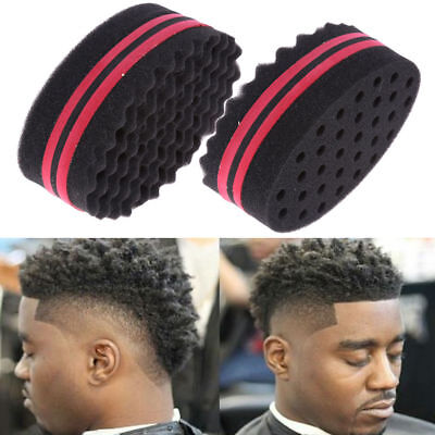 S Double Sided Barber Hair Brush Sponge Locking Twists Curly Wave Styling Design