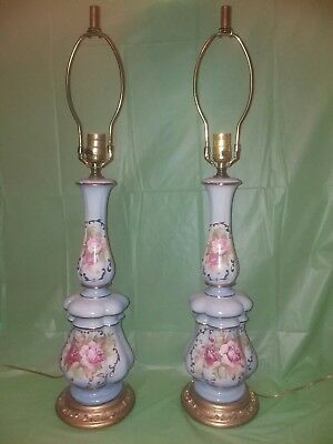 Vintage Pair of Metal Base Blue Table Lamps with Hand Painted Roses Gold Accent