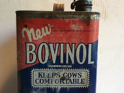 """Vintage Standard Oil Co Indiana Bovinol Tin Litho Can """" Keeps Cows Comfortable"""""""