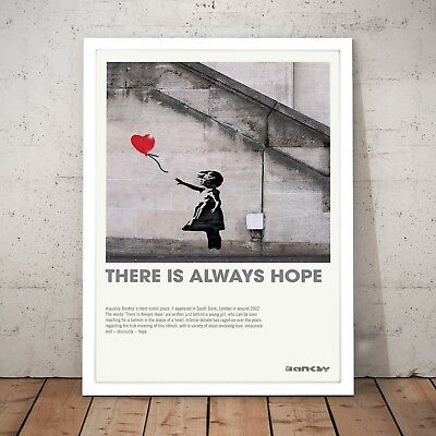 "Banksy ""There Is Always Hope"" Art Poster Print - A4 A3 A2 A1 A0 Framed"
