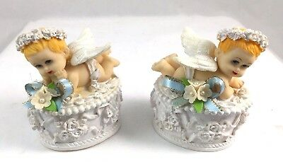 Cupid Cherub Angel Trinket Boxes, Cherubs with wings and small flowers & ribbons