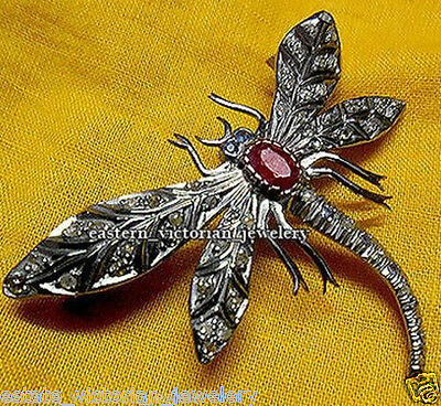 Amazingly Antique Vintage 1.72ct Rose Cut Diamond Ruby Silver Brooch Pin Jewelry