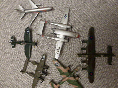 Lot 6 Vintage Plastic Mini Airplane Made In Hong Kong Toy WW2 Combat Fighter Jet