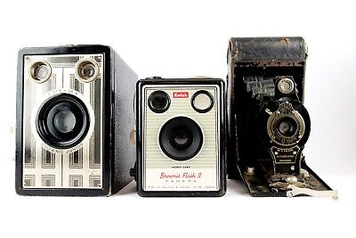 Brownie Camera - Kodak Flash II + Junior Six 16 + Kodak No.2 Folding Autographic