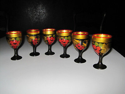 Hand made Russian Wooden Mini Goblets Hand Painted and Gilded set of 6 REDUCED