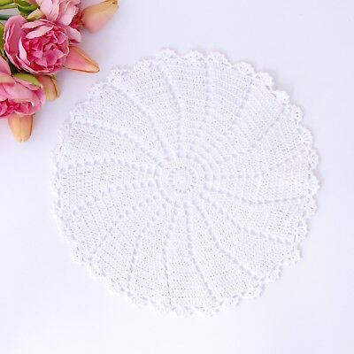 Crochet doily in white 30-31 cm for millinery , hair and crafts