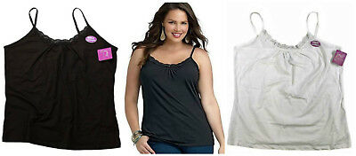 Just My Size Plus Women's Lace Shirred Solid White Black Tank Cami 1X 2X 3X 4X