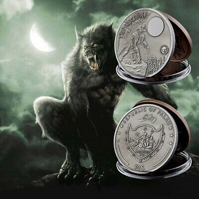 Silver Souvenir Coin Howling Wolf Moon Werewolf Mythical Creatures Plated Coin