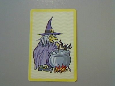 1 Single Swap/Playing Card - Wriggly Wavy/Criss Cross Yellow Witch (Blank Back)
