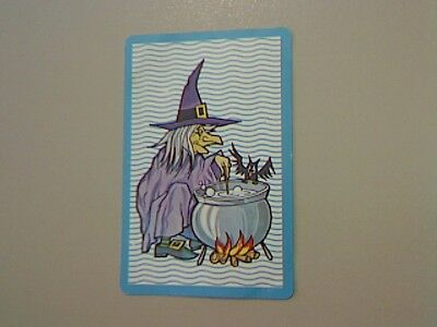 1 Single Swap/Playing Card - Wriggly Wavy/Criss Cross Blue Witch (Blank Back)