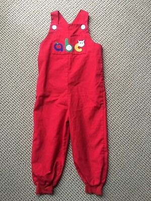 Vintage Florence Eiseman Longalls 3T Alphabet Red Primary Colors overalls