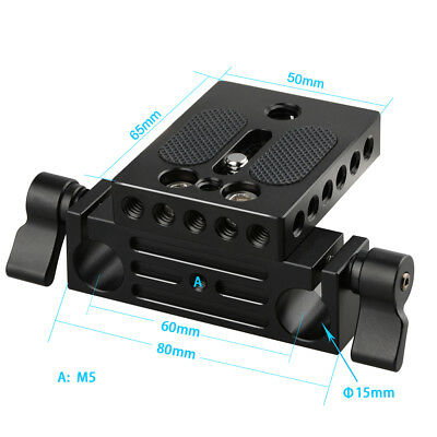 Camera Baseplate with 15mm Railblock fr DSLR Rig 15mm Rod Rail Support System