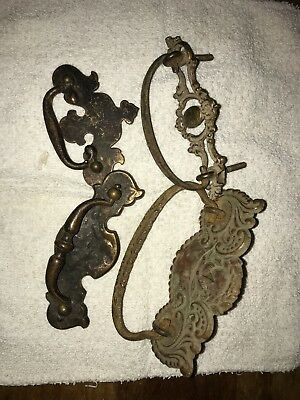 Antique MIXED LOT of 4  BRASS DRAWER HANDLE PULLS HARDWARE